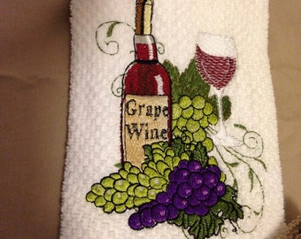 Embroidered Dish towel, Wine Bottle with Glass and Grapes, Dish Towel Set,  Wine and Grape Decor, Wedding Gift, Embroider