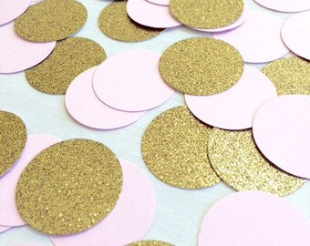 Blush Pink & Gold Glitter Confetti | Circle Confetti | Bridal Shower | Table Decor | Wedding | Baby Shower | Small Confetti | Gold