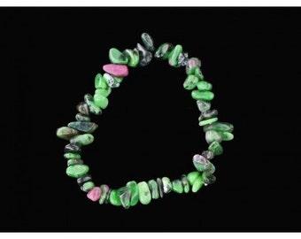 Wire chips beads in Ruby in zoizite - 18cm bracelet