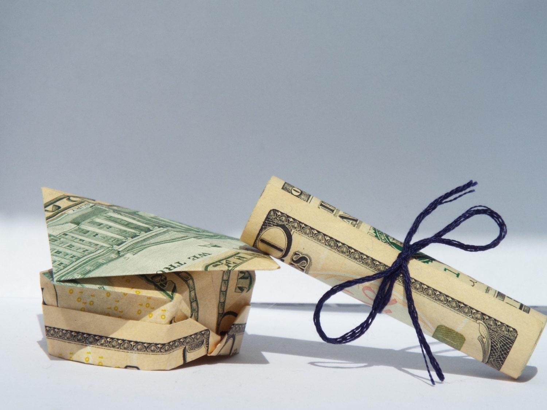 Dollar Bill Origami Graduation Cap and Diploma - photo#15