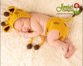 CROCHET PATTERN - Giraffe Hat and Diaper Cover Set for Newborn, Baby, Infant - Giraffe Bonnet - Newborn Photo Prop