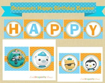 Octonauts Happy Birthday Banner, DIY, Instant Download