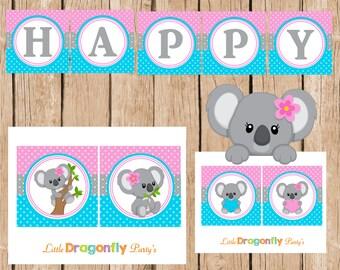 Koala Happy Birthday Instant Download Banner, DIY