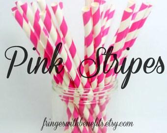 Pink Striped Straws / Pink Straws / Striped Straws / Baby Shower / Gender Reveal / Party Straws / Paper Straws / First Birthday Straws