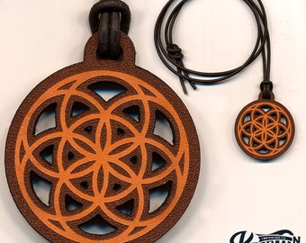 Laser Cut Leather Necklace and Keychain - Flower Of Life