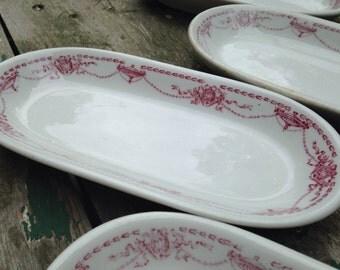 Set of 5 pink Shenango China celery dishes, celery dish, pink china, Shenango pottery, Victor V. Clad