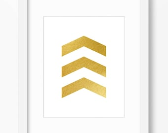 Gold decor, gold print, geometric print, gold chevron print, abstract geometric print, gold foil print, instant digital download, 11x14