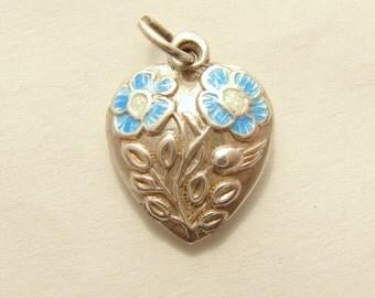 Vintage sterling silver enamel Poppy Flowers heart charm