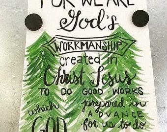 Watercolor scripture art - Ephesians 2:10 - christian art - religious art