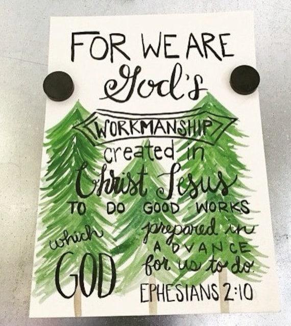 Watercolor scripture art - Ephesians 2:10 - christian art - religious art