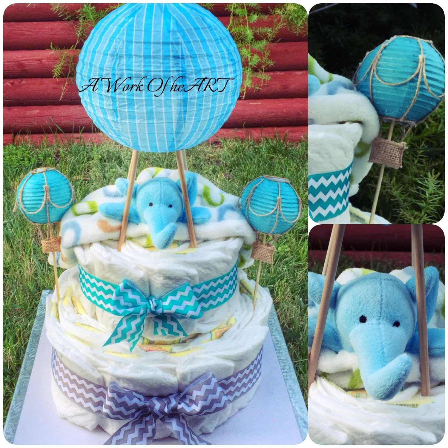 2 tier hot air balloon plush diaper cake by angelasworkofheart. Black Bedroom Furniture Sets. Home Design Ideas
