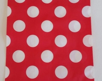 """10 Medium size Red and White large polka dot Candy bags, measuring 5 1/8"""" x 6 3/8"""""""