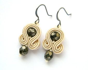 Boho earrings, Nude earrings, Small earrings, Dangle earrings, Soutache earrings, embroidered earrings, Crystal earrings