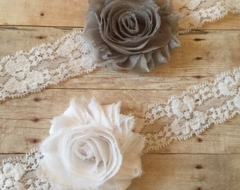 Baby Girl Headband, White Lace Baby Headband, Shabby Chic, Newborn Headband, Toddler Headband, baby shower gift, Baby hair accessorie