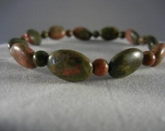 Green Unakite Stretch Bracelet (oval)