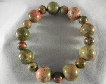 Green Unakite Stretch Bracelet (round)