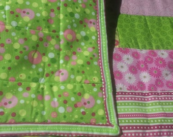 Pink,  green,  yellow and white baby quilt
