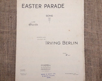 SALE WAS 4 Vintage Sheet Music. Easter Parade. Song by Irving Berlin. 1933. For Voice and Piano