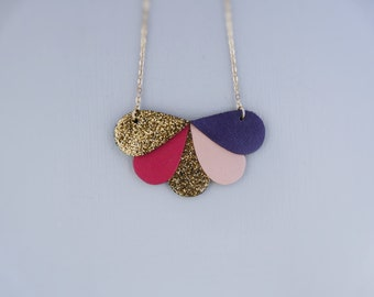 Ananta leather collar and glittery fabric form drop, 14-Karat Gold, pink, purple, gold
