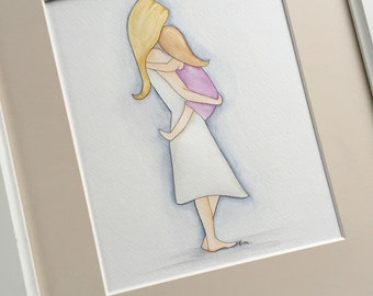 Mother and Daughter Art. Mother Daughter Nursery Decor. Mother and her Baby Girl 8x10 Watercolor. Motherhood Wall Art.