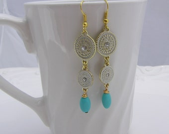 Turquoise and Ivory Drop Earrings