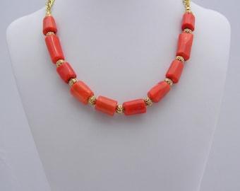 Orange Coral Beaded Necklace