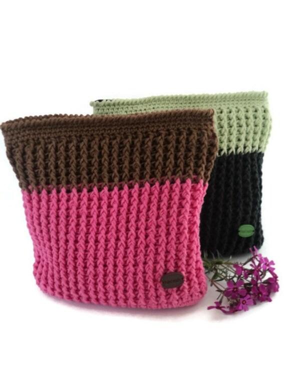 Knitting Pattern Makeup Bag : Knit cosmetic bag Pink makeup bag Knitting toiletry bag Gift