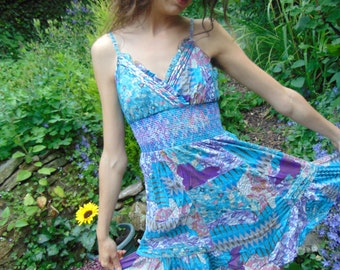 Pre Loved Boho Hippie Blue Psychedelic Paisley Dress