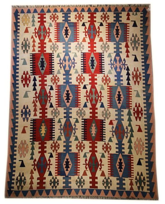 Vintage Turkish Flat Weave Rug: 9x12 Vintage Kilim Area Rug Turkish Kilim Rug Flat Weave