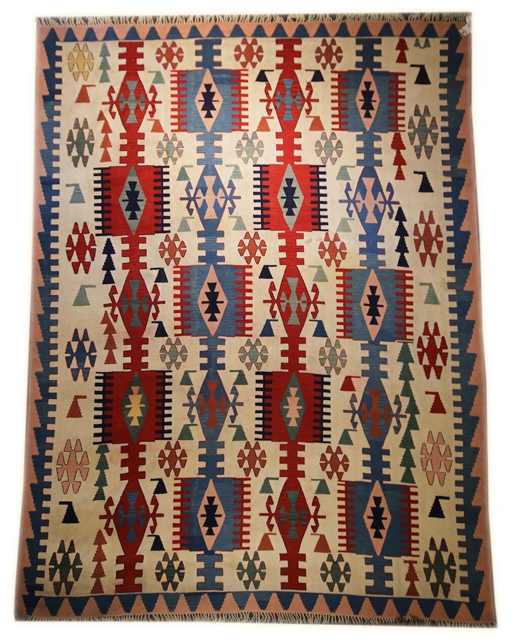 9x12 Vintage Kilim Area Rug Turkish Kilim Rug Flat Weave