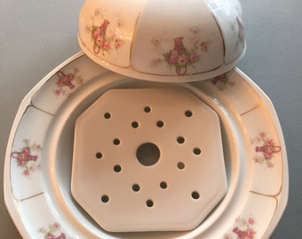 Circa 1900 Altrohlau MZ Austria round porcelain butter dish with insert-pink floral baskets