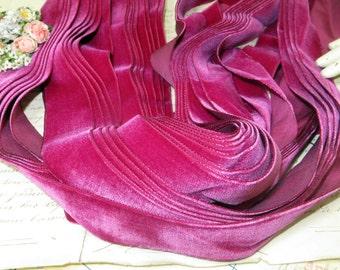 "1 3/8"" LUSH FUSCHIA PINK Antique French Velvet Ribbon Trim Cerise Dark Hot Pink Cherry Red Doll Dress Millinery Hat Supply Trim Work Vintage"