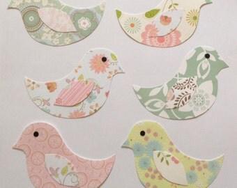 Paper bird cut outs for scrapbooking, bird decoration, card making, paper supplies, bird embellishments, wedding birds, Set of 3 or 5