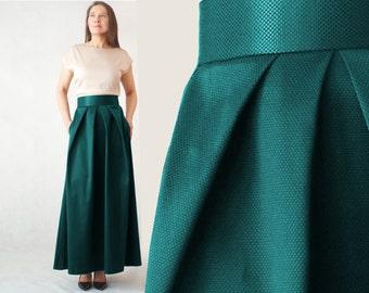 Evening maxi skirt, green skirt, emerald skirt, pleated skirt,green maxi skirt with pockets, skirt pleats, elegant skirt, long skirt