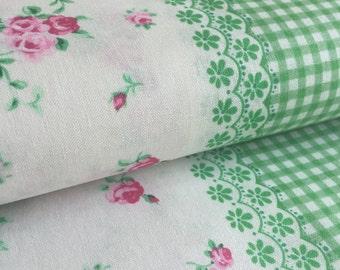 Flower Sugar Picnic Stripe GREEN Lecien Fabric