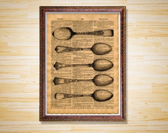 Steampunk poster Kitchen decor Spoons print