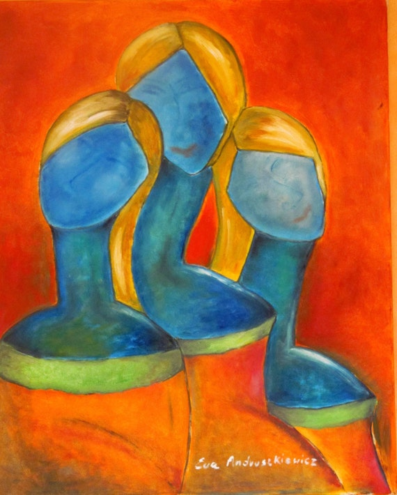 Women 3.  Large oil painting. Oil painting original. colours; blue ,orange, green, yellow. Ready to ship