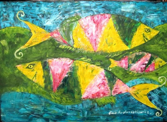 Fishes..  large oil painting. Oil painting original.  Canvas painting. ready to ship..