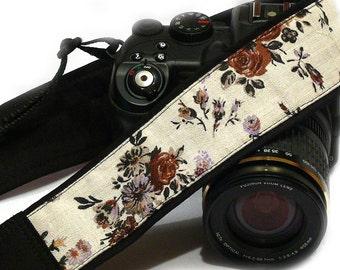 Flowers Camera Strap. Brown Beige Camera Strap.Canon Nikon Camera Strap. Photo Camera Accessories