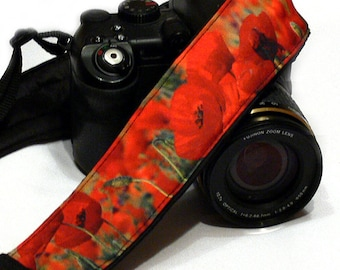 Poppies Camera Strap. Canon Nikon Camera Strap. Photo Camera Accessories