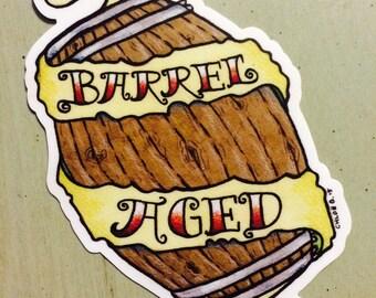 BARREL AGED sticker
