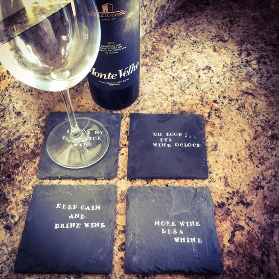 Slate coasters personalized coasters wine by ashmarprojects - Slate drink coasters ...