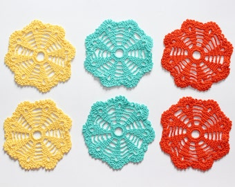 Set of 6 crochet coasters, handmade home décor, Coasters in yellow blue & orange, Colorful flower table decor