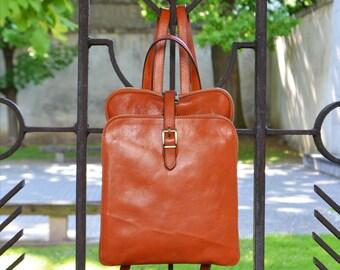 Leather Backpack, Ladies Backpack, Leather Bag, Leather rucksack, Brown Leather Backpack, Women Backpack, vintage backpack - Clarissa