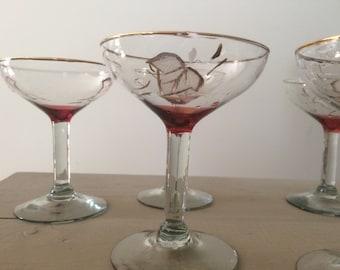 Vintage Handpainted Toasting Glasses, set of 5