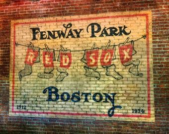 Vintage Red Sox Print, Fenway Park Canvas Wall Decor, Red Sox Canvas,Man Part 94