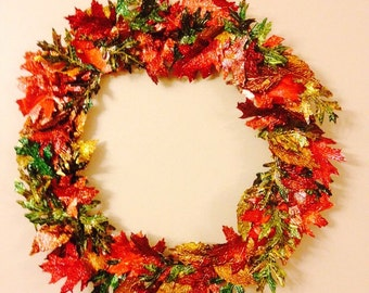 Upcycled Recycled Repurposed Alumunim Soda Pop Can - Fall Autumn Leaves Wreath