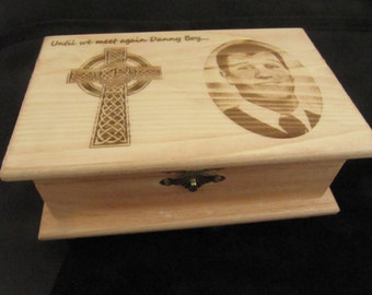 Laser Engraved Memorial Keepsake Box, Memorial Box, Laser Engraved Memorial