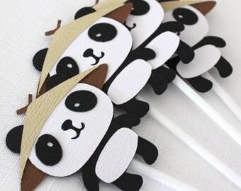 12 x Panda Bear Cupcake Toppers, kung fu panda party - pkt 12