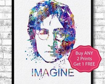 John Lennon 2 Watercolor Print Wall Hanging Giclee Print Home Decor Wall Decor John Lennon Imagine Poster Modern Wall Artwork Music Poster